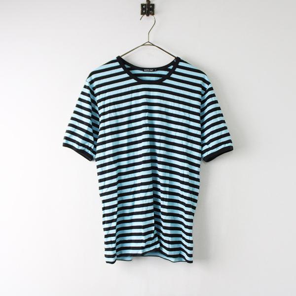 marimekko マリメッコ Tasaraita Lyhythiha ボーダー Tシャツ S/ライトブルー ブラック【2400011931474】