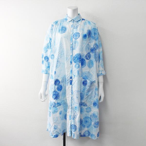 mina perhonen ミナペルホネン laundry ランドリー rain chukka コットン シャツ ワンピース 38/ブルー【2400011935236】