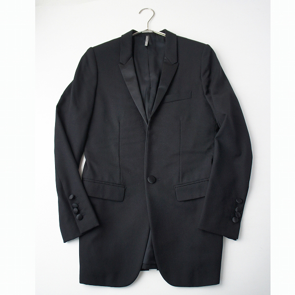 国内 Dior homme ディオールオム クリスヴァンアッシュ ナローラペル スモーキングジャケット 38/ブラック【2400011953001】