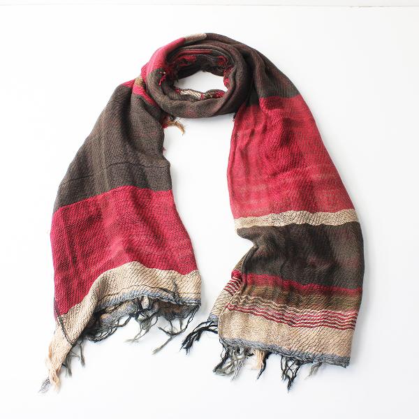 未使用品 tamaki niime 玉木新雌 タマキニイメ mocotton shawl middle モコットン ショール ミドル/レッド ブラウン【2400011959713】