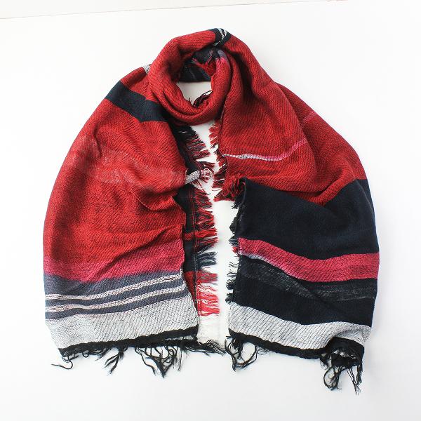 未使用品 tamaki niime 玉木新雌 タマキニイメ mocotton shawl middle モコットン ショール ミドル/レッド ブラック【2400011959737】