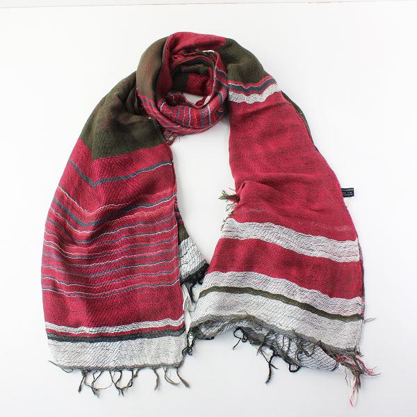 美品 tamaki niime 玉木新雌 タマキニイメ mocotton shawl middle モコットン ショール ミドル/レッド カーキ【2400011959751】