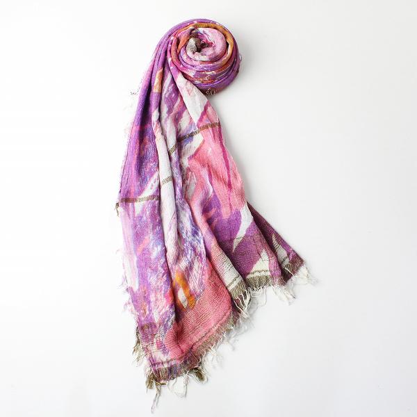 新品 tamaki niime 玉木新雌 タマキニイメ print shawl BIG プリント ルーツショール ビッグ/パープル系 総柄【2400011960153】