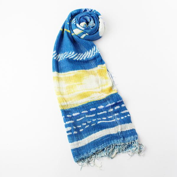新品 tamaki niime 玉木新雌 タマキニイメ print shawl BIG プリント ルーツショール ビッグ/ブルー 播州織【2400011960160】