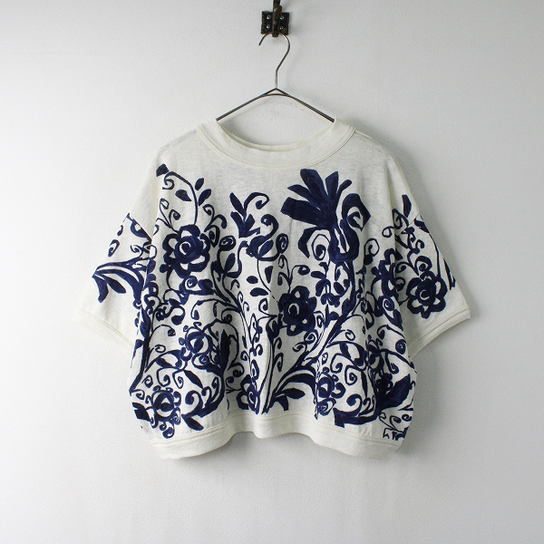 未使用品 2020SS 45R フォーティーファイブアール ギマニットのプリントTシャツ ワイドシルエット 0/インディゴ花柄【2400011960658】-.