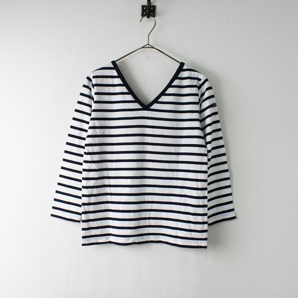 Le Minor ルミノア ボーダー コットン Vネック Tシャツ 1/ホワイト ネイビー カットソー【2400011965479】
