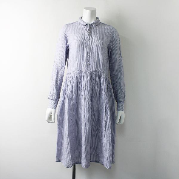 R&D.M.Co- オールドマンズテーラー リネン コットン ストライプ シャツドレス/ブルー ワンピース【2400011966131】