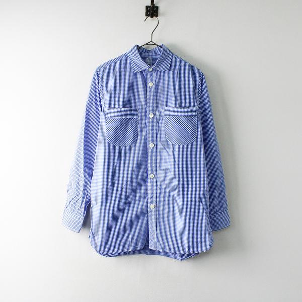メンズ KATO カトー KS511762 ギンガムチェック 長袖シャツ XS/ブルー トップス【2400011966810】