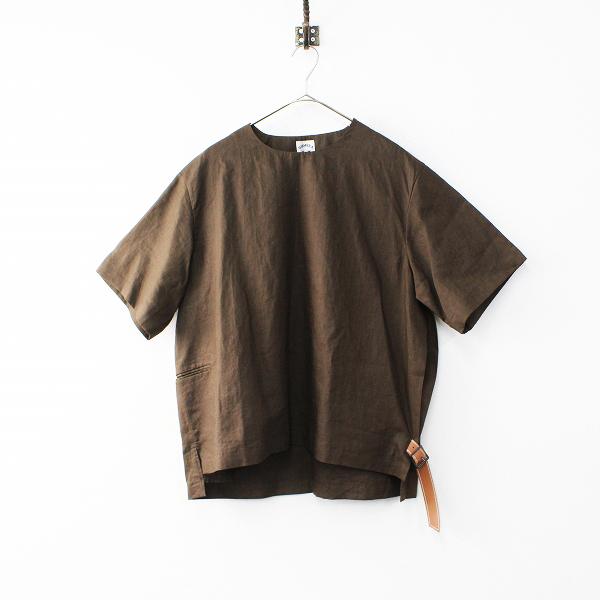 美品 メンズ 2019SS SUNSEA サンシー LINEN BELTED T リネンベルテッドTシャツ 2/ブラウン 麻 トップス【2400011984807】