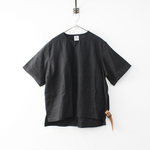 美品 メンズ 2019SS SUNSEA サンシー LINEN BELTED T リネンベルテッドTシャツ 2/ブラック 麻 トップス【2400011984814】