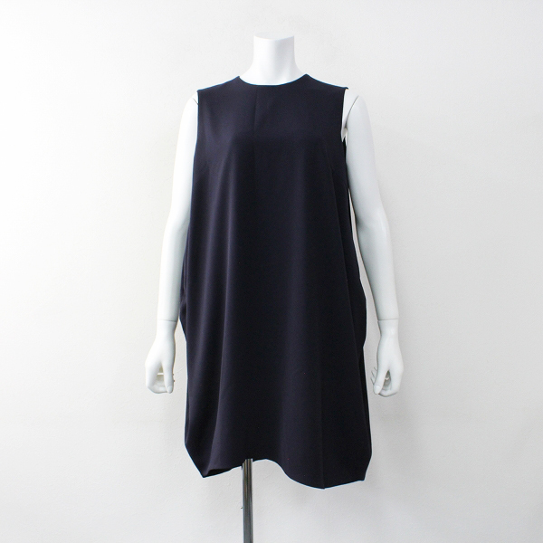 ENFOLD エンフォルド ライトダブルジョーゼットアシンメトリーコクーン ワンピース 36/ネイビー ドレス【2400011985125】