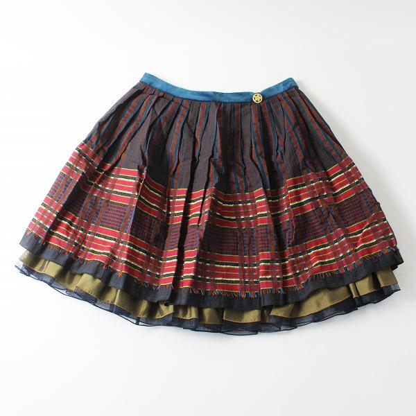 美品 Lois CRAYON ロイスクレヨン チェックジャガード ボリュームギャザースカートM/レッド【2400011987471】