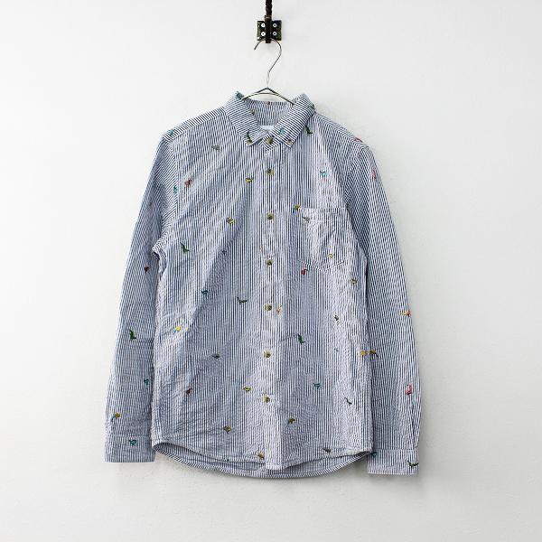 メンズ Design Tshirts Store graniph グラニフ バード 刺繍 ストライプ シャツ S/ネイビー×ホワイト トップス【2400011989321】