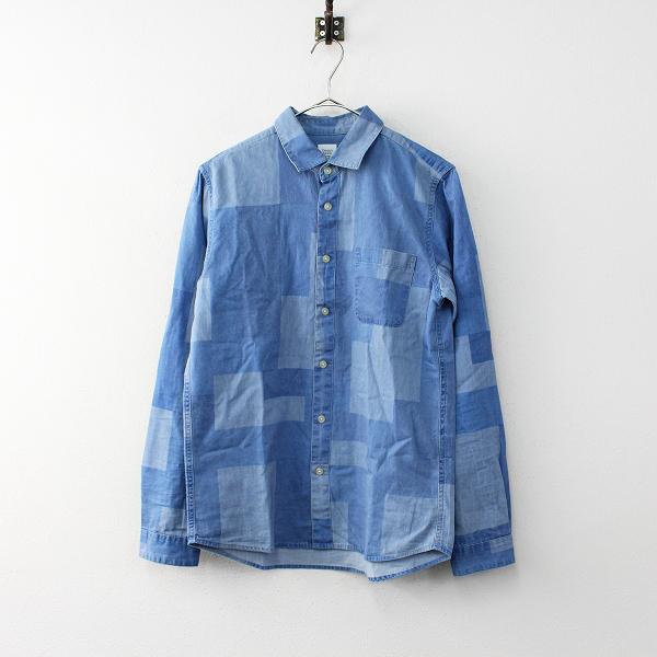 【期間限定50%OFF!】メンズ Design Tshirts Store graniph グラニフ コットン 配色 シャツ S/ブルー トップス【2400011989338】