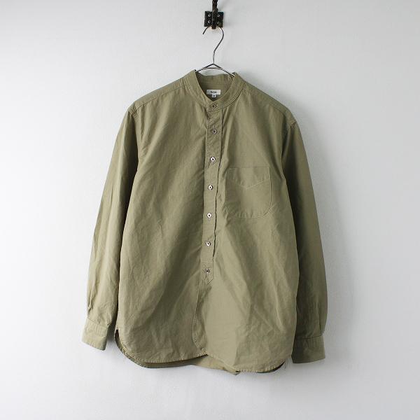 Scye サイ コットン バンドカラー シャツ 38/カーキ ブラウス メンズ【2400011991393】
