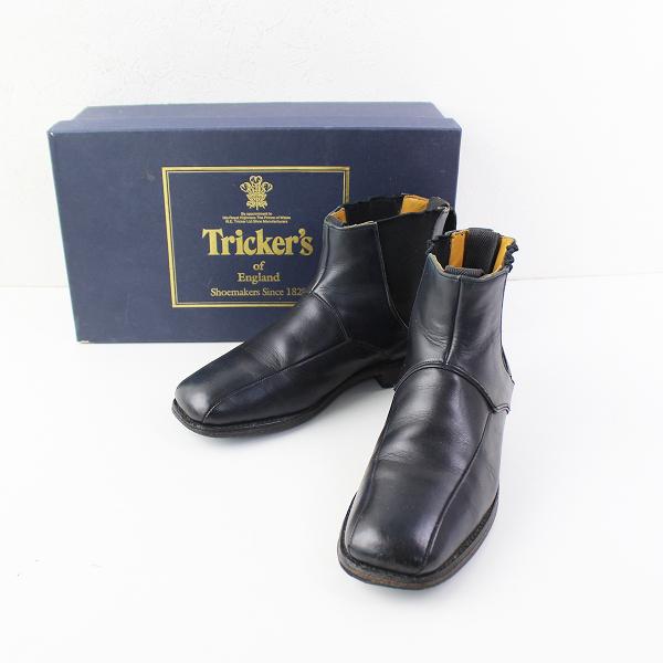 Tricker's トリッカーズ JACK collection サイドゴア レザー ショートブーツ 4/ネイビー インディゴ 22.0cm【2400011995018】