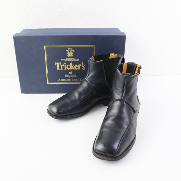 Tricker's トリッカーズ JACK collection サイドゴア レザー ショートブーツ 4/ダークネイビー インディゴ 22.0cm【2400011995018】
