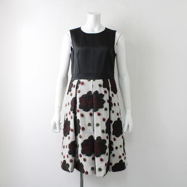 定価4.9万 Lois CRAYON ロイスクレヨン ウール混 ダークフラワー ノースリーブ ワンピース M/ブラック ドレス【2400011996381】