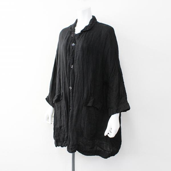 R&D.M.Co- オールドマンズテーラー リネン ロング シャツコート/ブラック 羽織り【2400011996404】