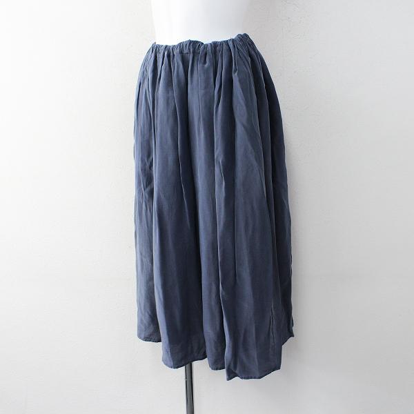 2018SS ゴーシュ G181-S029 レーヨンシルククレープギャザースカート 2/ブルー ボトムス【2400011996411】