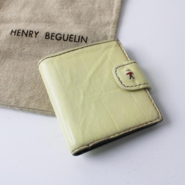 HENRY BEGUELIN エンリーベグリン オミノ刺繍 レザー 二つ折り 財布/アイボリー 小物 ウォレット【2400012002470】