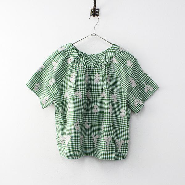 未使用品 mina perhonen laundry ミナペルホネン ランドリー bonheur 刺繍 ギンガムリネンプルオーバーブラウス 38【2400012003323】