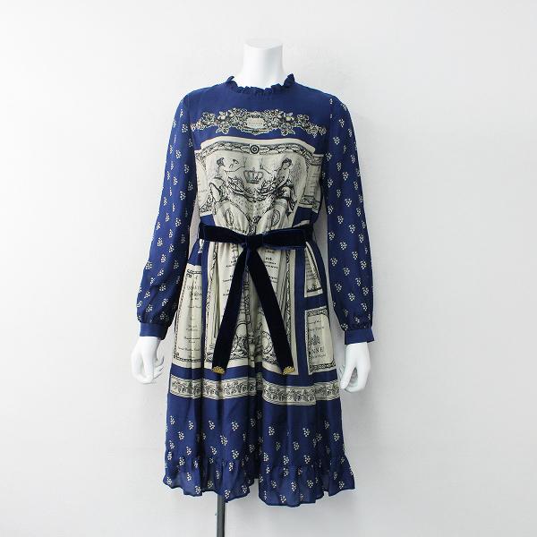 2018AW 定価5.1万 Jane Marple ジェーンマープル Queen's table colette dress コレットドレス M/ネイビー ワンピース【2400012003859】