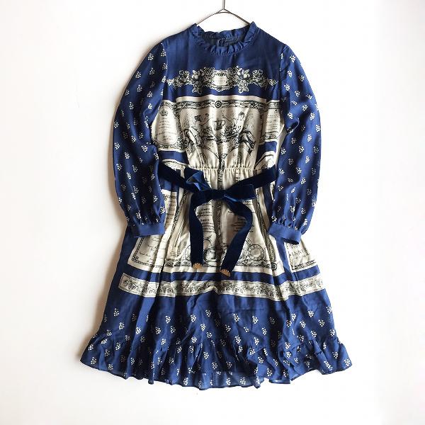 2018AW★ 定価5.1万 Jane Marple ジェーンマープル Queen's table colette dress コレットドレス M/ブルー系 ワンピース【2400012003859】