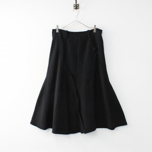 美品 Y's Yohji Yamamoto ワイズ ヨウジヤマモト ヘリンボーン織り ウールロングスカート2/ブラック ボトムス【2400012004122】