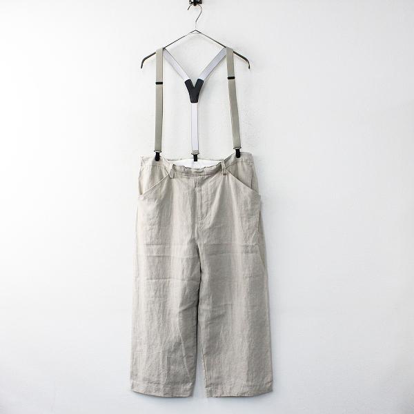 2016SS SUNSEA サンシー 18S43 サスペンダー付き Linen Straight Pants 2/ベージュ リネンストレートパンツ【2400012004207】