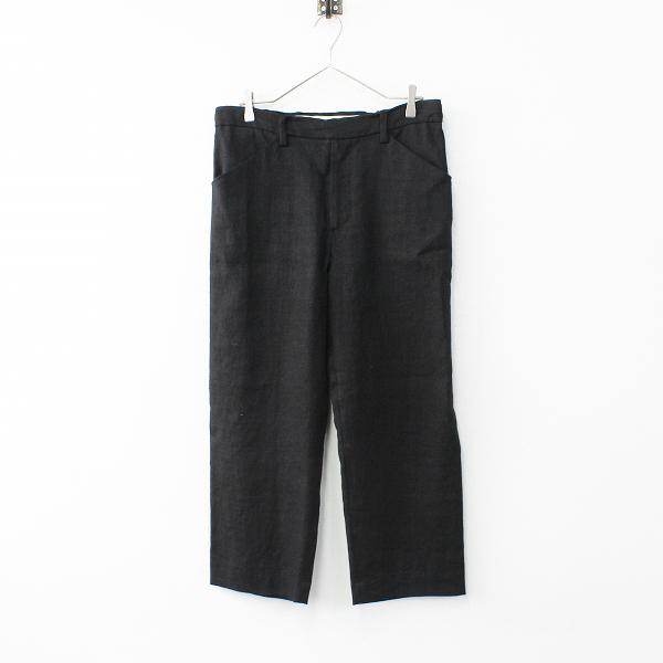 美品 2016SS SUNSEA サンシー Spec Linen Straight Pants スペックリネンストレートパンツ1/ブラック 日本製【2400012004214】