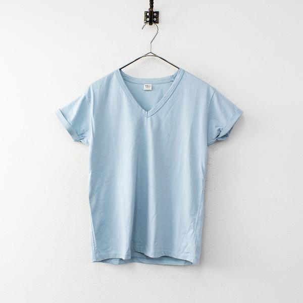 Ron Herman ロンハーマン コットン Vネック Tシャツ XS/サックスブルー プルオーバー ブラウス トップス【2400012004764】