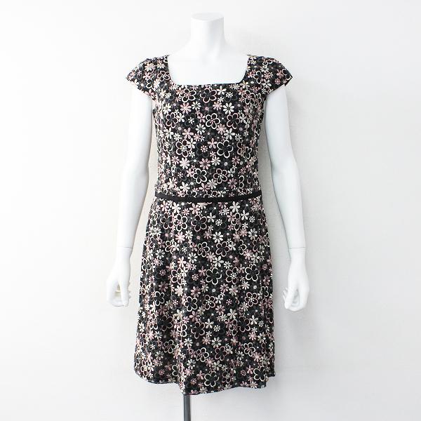 TOCCA トッカ フラワー刺繍 フレア ワンピース ドレス 0/ブラック ピンク【2400012013186】