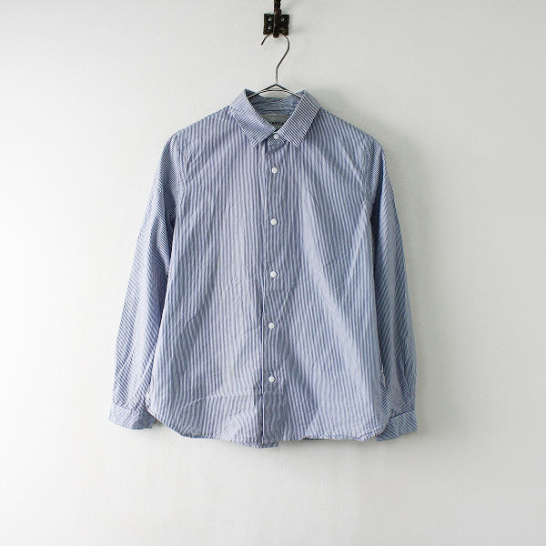 YAECA ヤエカ 151991 スナップボタンコンフォートシャツ S/ブルー ストライプ【2400012013964】