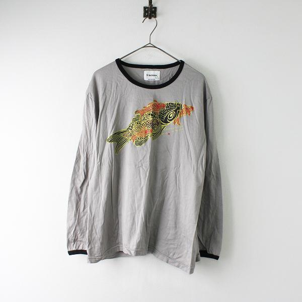 メンズ Ki-yan collection キーヤンコレクション 京都 鯉プリント 長袖 Tシャツ XL/グレー 和柄【2400012014275】