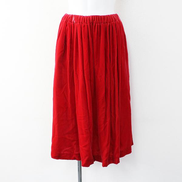 サンプル品 COMME des GARCONS コムデギャルソン コムコム 別珍 ベルベット イージー ギャザー スカート 3/レッド【2400012017641】