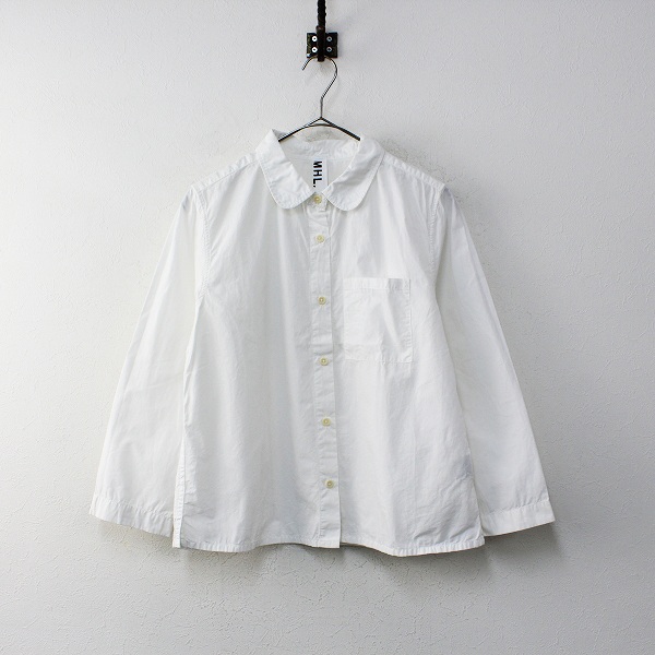 MHL. MARGARET HOWELL マーガレットハウエル コットン 丸襟 長袖シャツ 2/ホワイト トップス【2400012019003】