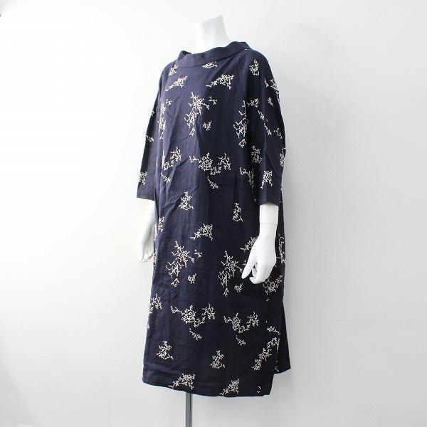 2017AW 定価7.4万 mina perhonen ミナペルホネン senko-hanabi 刺繍 ワイド ワンピース 38/ネイビー【2400012021648】