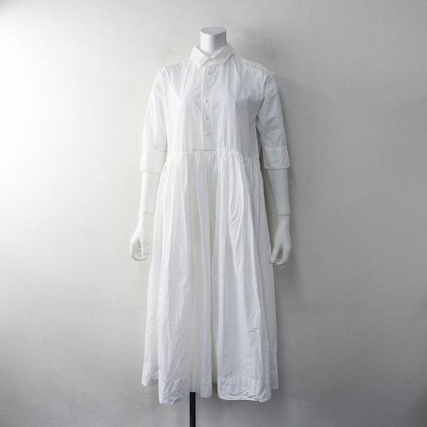 R&D.M.Co- オールドマンズテーラー コットンリネン ギャザーシャツドレス FREE/ホワイト フレアワンピース【2400012021914】
