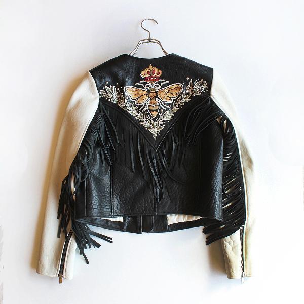 定価19.5万 ISABEL MARANT ETOILE イザベルマランエトワール Kirk embroidered レザージャケット 34/ブラック 羽織り【2400012023468】-.