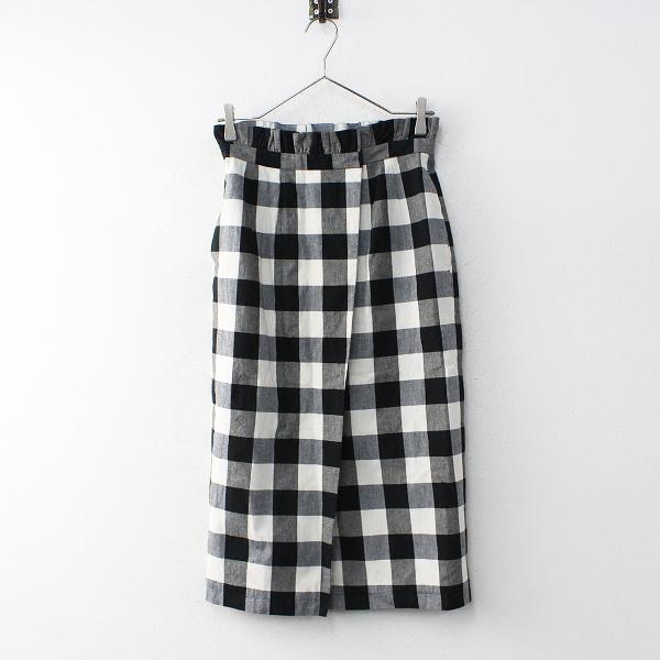 2018SS 春夏 定価1.8万 Lois CRAYON ロイスクレヨン コットン BIG チェック スカート M/ブラック ロング ボトムス【2400012024779】