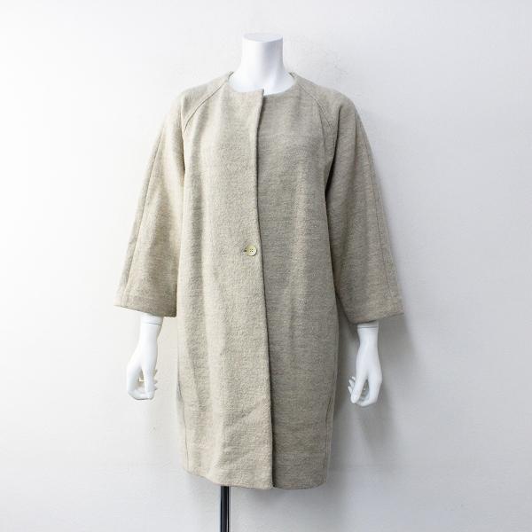 2017AW evam eva エヴァムエヴァ E173K070 press wool coat プレスウール ノーカラー コート 2/ライトベージュ プレス【2400012026001】