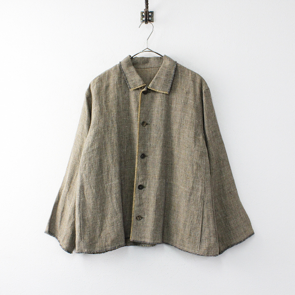 Jurgen Lehl ヨーガンレール リネン シャツジャケット M/ベージュ系 トップス 羽織り【2400012026278】