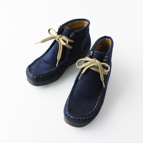COULEUR VARIE クロールバリエ スエード調 ショートブーツ 22.0/ネイビー 靴 小さいサイズ【2400012026889】
