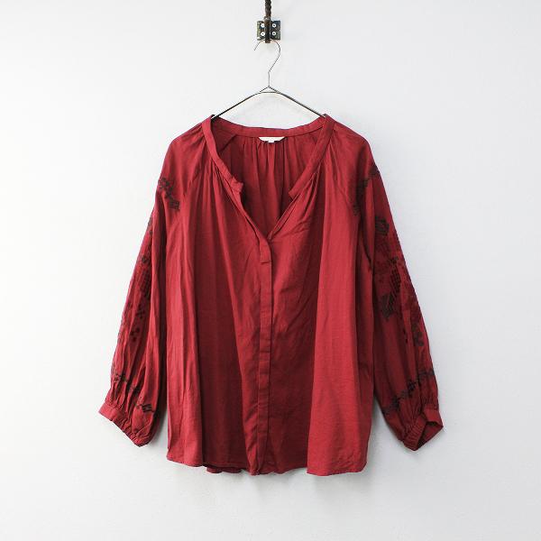 studio CLIP スタジオクリップ コットンレーヨン 袖刺繍 スキッパー ブラウス L /レッド シャツ【2400012027343】