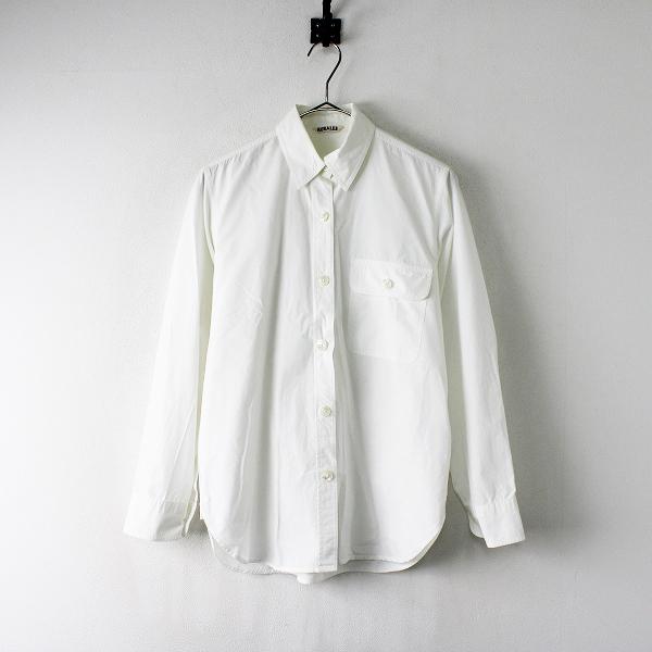 定価2.2万 AURALEE オーラリー コットン SELVEDGE WEATHER CLOTH SHIRTS シャツ 0/ホワイト トップス【2400012028296】