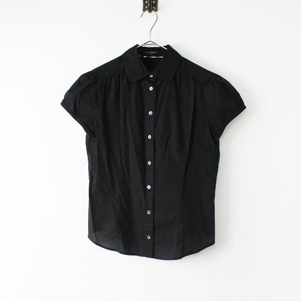 Burberry London バーバリーロンドン ホース刺繍 ギャザーコットン 半袖シャツ 40/ブラック ブラウス【2400012028852】
