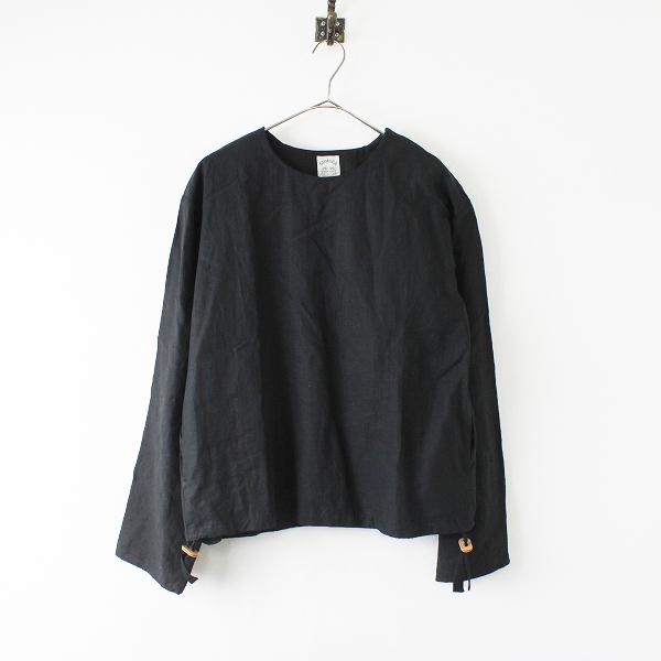 美品 2017SS SUNSEA サンシー 17S24 LINEN PULL OVER LONG Tee リネンプルオーバーロングTシャツ1/ブラック【2400012034846】