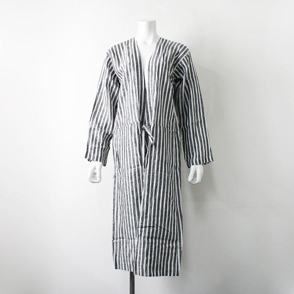 未使用品 定価2.9万 Veritecoeur ヴェリテクール VC-1175B リネンストライプローブコート Linen stripe robecoat F【2400012036413】
