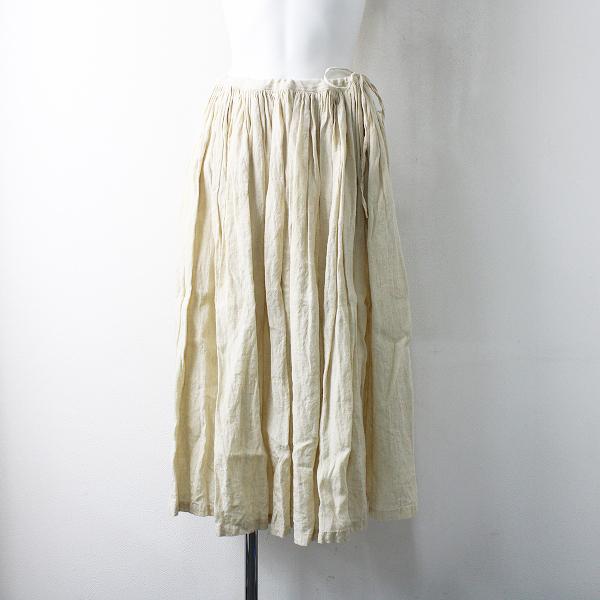 美品 新作 定5.2万 2020AW R&D.M.Co- オールドマンズテーラー デンズリーリネンギャザースカート F/アンティークホワイト【2400012040915】